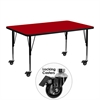 Mobile 24''W x 48''L Rectangular Activity Table with Red Thermal Fused Laminate Top and Height Adjustable Preschool Legs