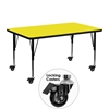 Mobile 24''W x 48''L Rectangular Activity Table with 1.25'' Thick High Pressure Yellow Laminate Top and Height Adjustable Preschool Legs
