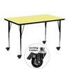 Mobile 24''W x 48''L Rectangular Activity Table with Yellow Thermal Fused Laminate Top and Standard Height Adjustable Legs