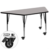 Flash Furniture Mobile 25.5''W x 46.25''L Trapezoid Activity Table with 1.25'' Thick High Pressure Grey Laminate Top and Height Adjustable Preschool Legs