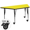 Mobile 25.5''W x 46.25''L Trapezoid Activity Table with 1.25'' Thick High Pressure Yellow Laminate Top and Height Adjustable Preschool Legs