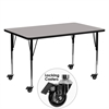 Mobile 24''W x 60''L Rectangular Activity Table with 1.25'' Thick High Pressure Grey Laminate Top and Standard Height Adjustable Legs
