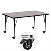 Mobile 24''W x 60''L Rectangular Activity Table with 1.25'' Thick High Pressure Grey Laminate Top and Height Adjustable Preschool Legs