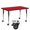 Flash Furniture Mobile 24''W x 60''L Rectangular Activity Table with 1.25'' Thick High Pressure Red Laminate Top and Standard Height Adjustable Legs
