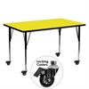 Flash Furniture Mobile 24''W x 60''L Rectangular Activity Table with 1.25'' Thick High Pressure Yellow Laminate Top and Standard Height Adjustable Legs