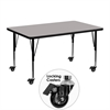 Mobile 30''W x 48''L Rectangular Activity Table with 1.25'' Thick High Pressure Grey Laminate Top and Height Adjustable Preschool Legs