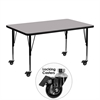 Flash Furniture Mobile 30''W x 48''L Rectangular Activity Table with Grey Thermal Fused Laminate Top and Height Adjustable Preschool Legs