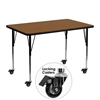 Mobile 30''W x 48''L Rectangular Oak HP Laminate Activity Table - Standard Height Adjustable Legs