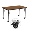 Flash Furniture Mobile 30''W x 48''L Rectangular Activity Table with 1.25'' Thick High Pressure Oak Laminate Top and Height Adjustable Preschool Legs