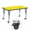 Mobile 30''W x 48''L Rectangular Activity Table with 1.25'' Thick High Pressure Yellow Laminate Top and Height Adjustable Preschool Legs