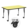 Mobile 30''W x 48''L Rectangular Activity Table with Yellow Thermal Fused Laminate Top and Height Adjustable Preschool Legs