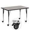 Mobile 30''W x 60''L Rectangular Activity Table with 1.25'' Thick High Pressure Grey Laminate Top and Standard Height Adjustable Legs