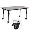 Mobile 30''W x 60''L Rectangular Activity Table with 1.25'' Thick High Pressure Grey Laminate Top and Height Adjustable Preschool Legs