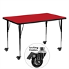 Mobile 30''W x 60''L Rectangular Activity Table with 1.25'' Thick High Pressure Red Laminate Top and Standard Height Adjustable Legs