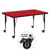 Flash Furniture Mobile 30''W x 60''L Rectangular Activity Table with 1.25'' Thick High Pressure Red Laminate Top and Height Adjustable Preschool Legs
