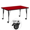 Mobile 30''W x 60''L Rectangular Activity Table with Red Thermal Fused Laminate Top and Height Adjustable Preschool Legs