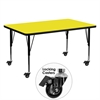 Mobile 30''W x 60''L Rectangular Activity Table with 1.25'' Thick High Pressure Yellow Laminate Top and Height Adjustable Preschool Legs