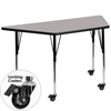 Flash Furniture Mobile 30''W x 60''L Trapezoid Activity Table with 1.25'' Thick High Pressure Grey Laminate Top and Standard Height Adjustable Legs