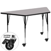 Flash Furniture Mobile 30''W x 60''L Trapezoid Activity Table with Grey Thermal Fused Laminate Top and Standard Height Adjustable Legs