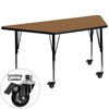 Mobile 30''W x 60''L Trapezoid Activity Table with Oak Thermal Fused Laminate Top and Height Adjustable Preschool Legs