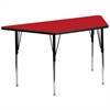 30''W x 60''L Trapezoid Red HP Laminate Activity Table - Standard Height Adjustable Legs