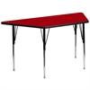 Flash Furniture 30''W x 60''L Trapezoid Activity Table with Red Thermal Fused Laminate Top and Standard Height Adjustable Legs