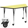 Flash Furniture Mobile 30''W x 60''L Trapezoid Activity Table with Yellow Thermal Fused Laminate Top and Standard Height Adjustable Legs