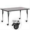 Mobile 30''W x 72''L Rectangular Activity Table with 1.25'' Thick High Pressure Grey Laminate Top and Standard Height Adjustable Legs
