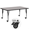 Flash Furniture Mobile 30''W x 72''L Rectangular Activity Table with 1.25'' Thick High Pressure Grey Laminate Top and Height Adjustable Preschool Legs