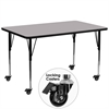 Mobile 30''W x 72''L Rectangular Grey Thermal Laminate Activity Table - Standard Height Adjustable Legs