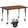 Mobile 30''W x 72''L Rectangular Oak HP Laminate Activity Table - Standard Height Adjustable Legs