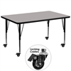 Mobile 36''W x 72''L Rectangular Activity Table with 1.25'' Thick High Pressure Grey Laminate Top and Height Adjustable Preschool Legs