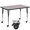 Flash Furniture Mobile 36''W x 72''L Rectangular Activity Table with Grey Thermal Fused Laminate Top and Standard Height Adjustable Legs