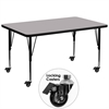 Flash Furniture Mobile 36''W x 72''L Rectangular Activity Table with Grey Thermal Fused Laminate Top and Height Adjustable Preschool Legs