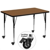 Mobile 36''W x 72''L Rectangular Oak HP Laminate Activity Table - Standard Height Adjustable Legs