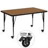 Mobile 36''W x 72''L Rectangular Activity Table with Oak Thermal Fused Laminate Top and Height Adjustable Preschool Legs