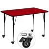 Mobile 36''W x 72''L Rectangular Red Thermal Laminate Activity Table - Standard Height Adjustable Legs