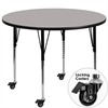 Mobile 42'' Round Grey HP Laminate Activity Table - Standard Height Adjustable Legs
