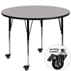 Mobile 42'' Round Activity Table with Grey Thermal Fused Laminate Top and Standard Height Adjustable Legs