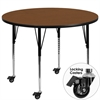 Mobile 42'' Round Activity Table with 1.25'' Thick High Pressure Oak Laminate Top and Standard Height Adjustable Legs