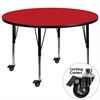 Mobile 42'' Round Activity Table with 1.25'' Thick High Pressure Red Laminate Top and Height Adjustable Preschool Legs