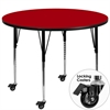 Mobile 42'' Round Red Thermal Laminate Activity Table - Standard Height Adjustable Legs