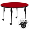 Mobile 42'' Round Red Thermal Laminate Activity Table - Height Adjustable Short Legs