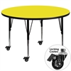 Mobile 42'' Round Yellow HP Laminate Activity Table - Height Adjustable Short Legs