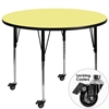 Flash Furniture Mobile 42'' Round Activity Table with Yellow Thermal Fused Laminate Top and Standard Height Adjustable Legs