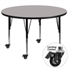 Mobile 48'' Round Grey HP Laminate Activity Table - Height Adjustable Short Legs