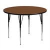48'' Round Activity Table with 1.25'' Thick High Pressure Oak Laminate Top and Standard Height Adjustable Legs