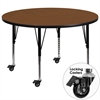 Mobile 48'' Round Oak HP Laminate Activity Table - Height Adjustable Short Legs