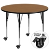 Flash Furniture Mobile 48'' Round Activity Table with Oak Thermal Fused Laminate Top and Standard Height Adjustable Legs