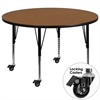 Flash Furniture Mobile 48'' Round Activity Table with Oak Thermal Fused Laminate Top and Height Adjustable Preschool Legs